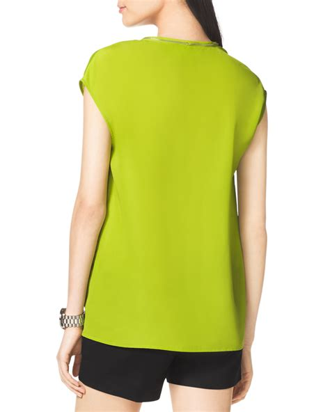 Blouse Lime michael michael kors ziptrim blouse in green lyst
