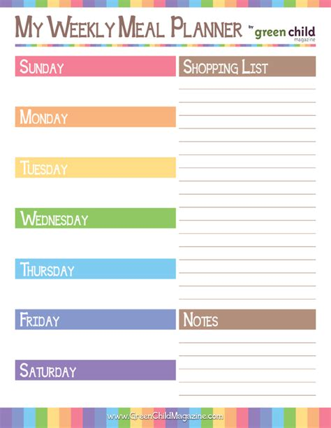 best printable meal planner 6 best images of weekly meal planner printable worksheets
