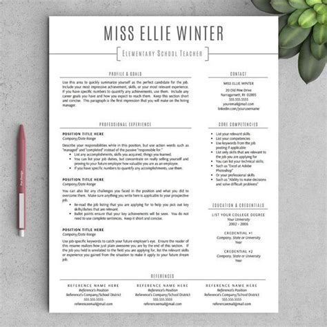 Resume Templates Word For Teachers 1000 Ideas About Resume Template On Resumes Teaching Resume And