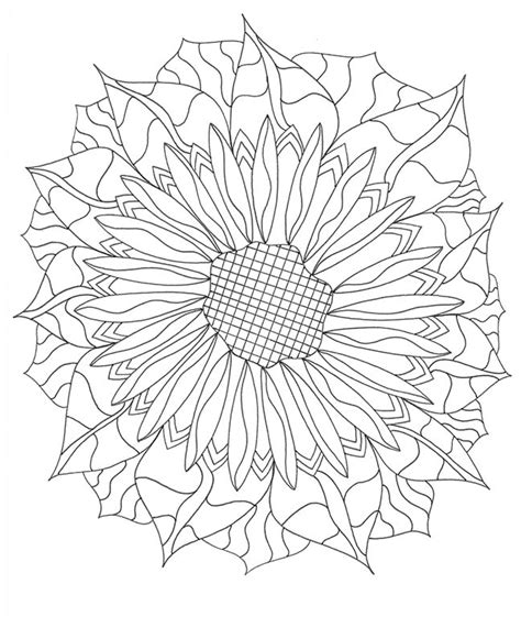 Abstract Sunflower Coloring Page | coloring page abstract zendoodle botanical design
