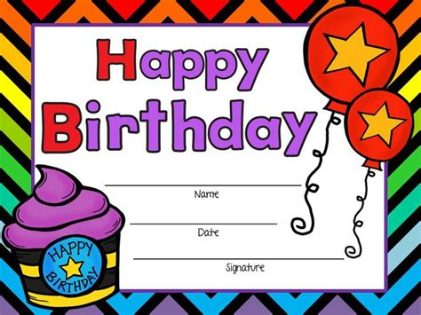 happy birthday template free printable birthday certificates certificate templates