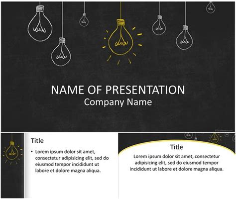 free chalkboard powerpoint template light bulbs on blackboard powerpoint template powerpoint
