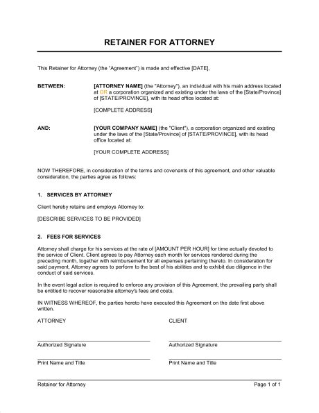 retainer fee agreement template retainer for attorney template sle form biztree