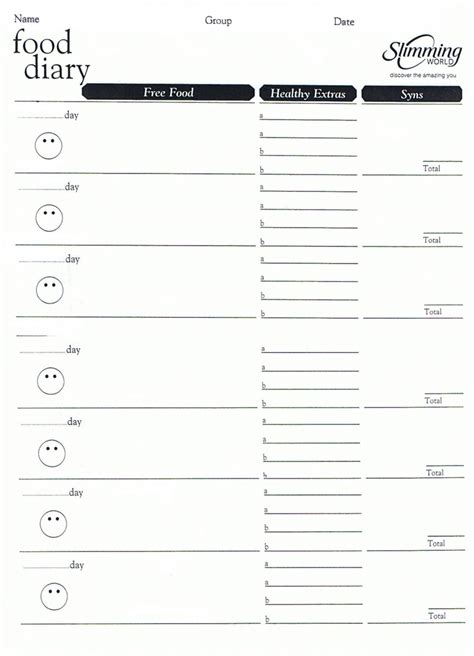 slimming world food diary template pinteres