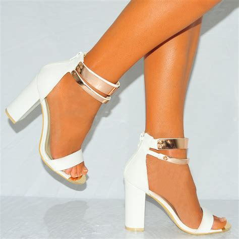 block high heels white with gold metal ankle open toe block