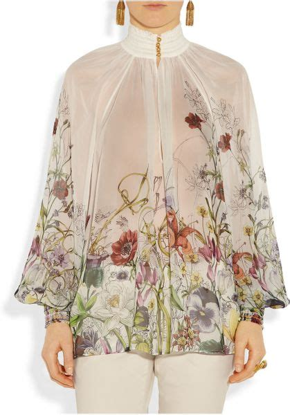 Smock Top Floral Dress Like Gucci by Gucci Floral Print Smocked Silk Chiffon Top In Transparent