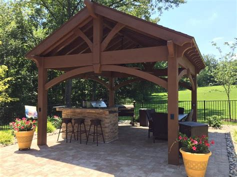 Perfect Poolside Pavilion Kit Over Outdoor Kitchen Backyard Pavilion Kits