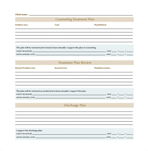 treatment plan template counseling 8 treatment plan templates sle templates