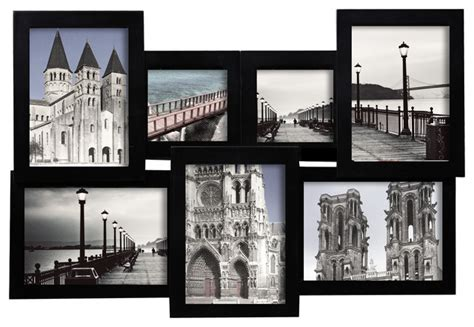 modern picture frames wall black wood interlocking collage wall hanging picture photo