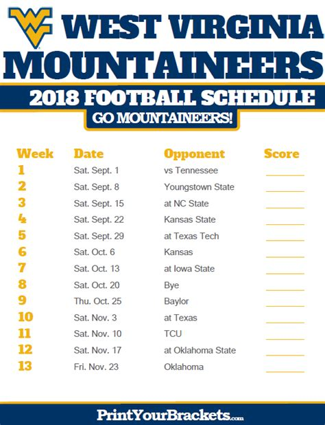 west virginia mountaineers 2018 football schedule printable