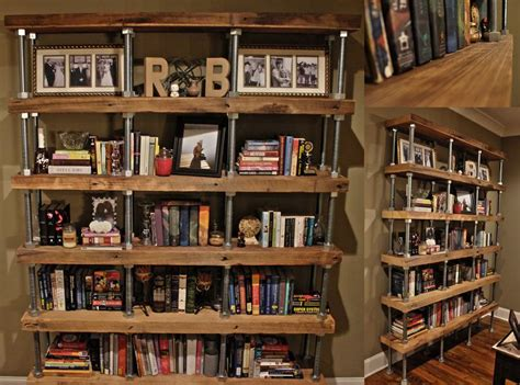 diy industrial rustic bookshelf reclaimed lumber