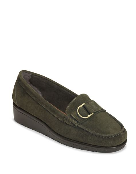 parisian loafers aerosoles parisian suede wedge loafers in green lyst