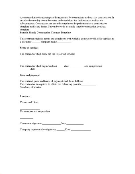 4 simple construction contractreport template document
