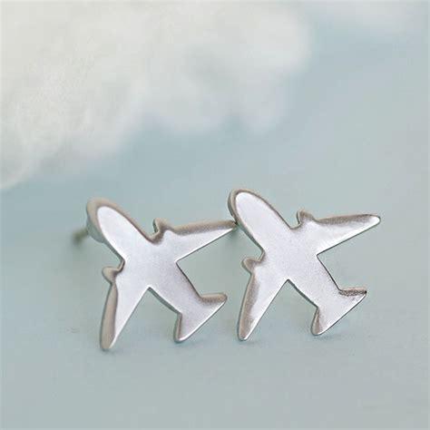 silver airplane earrings jet earrings plane earrings