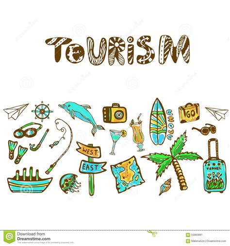 free doodle banner vector doodle set with summer icon tourism
