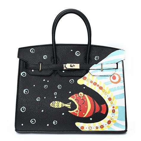 Bag Backpack Custom Tas Custom graffiti custom messenger bags painted bags painting fish eat fish totes 50cm gold