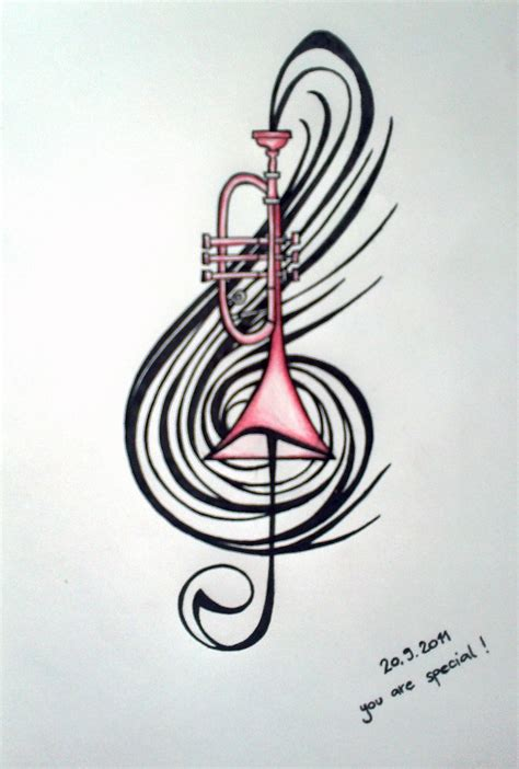 draw my tattoo trumpet drawing for my s b day romana design