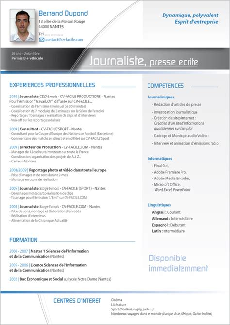 Sample Resume Of It Professional by Mod 232 Le Cv Journaliste Exemple Cv Original
