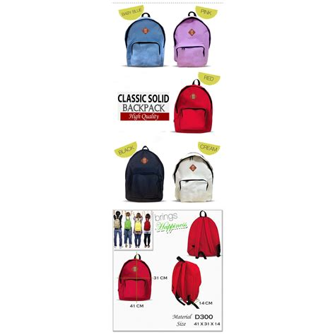 Tas Ransel Backpack High Quality Salem classic solid backpack signature size 41 x 31 x 14 tas