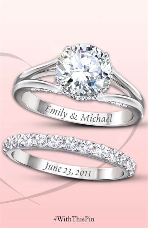Wedding Rings Engraved Ideas by Diamonesk Personalized Bridal Ring Set Personalized
