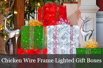 diy wire frame christmas decorations pvc frame lighted gift boxes