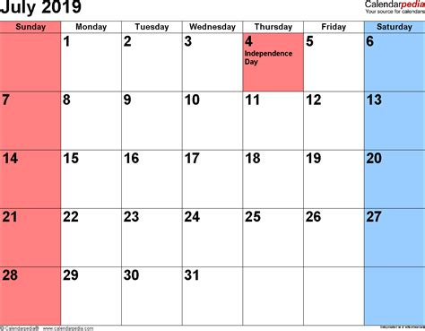 Calendar 2019 July July 2019 Calendars For Word Excel Pdf