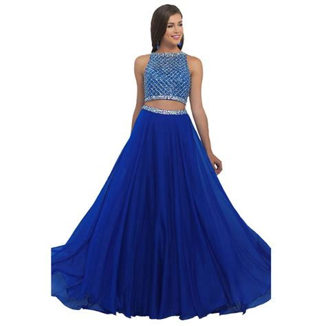 Chiffon Crop Top Royal Blue Size S Belakang Karet a line backless royal blue prom dresses 2016 with boat neck and beading chiffon 2