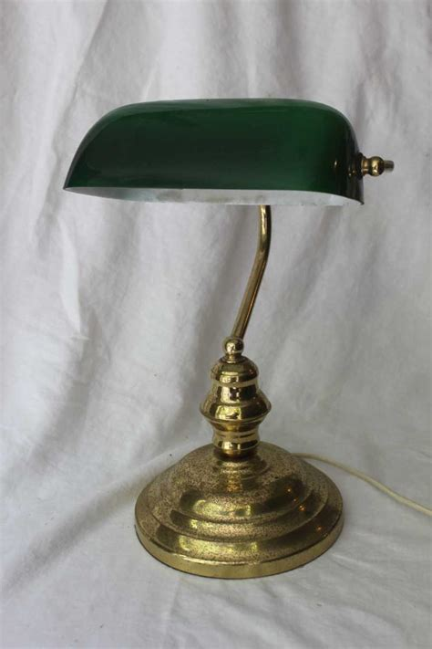 Green Glass L Shade by A Brass Desk L With Green Glass Shade