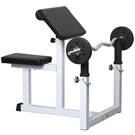 weight bench with arm curl yaheetech commercial preacher arm curl weight bench