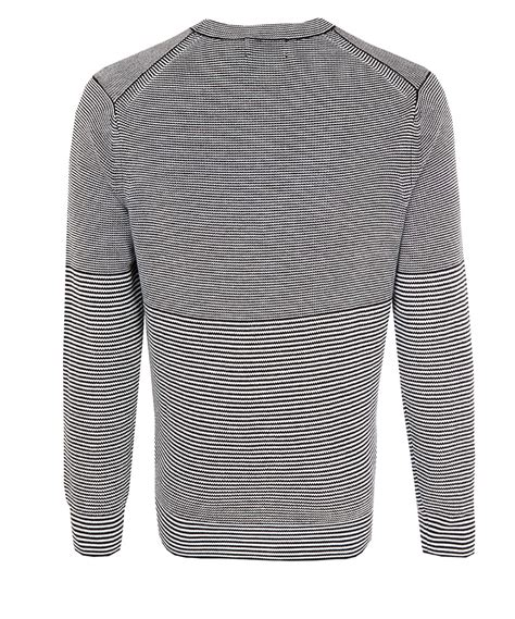black and white knitted jumper lyst paul smith black and white stripe knit jumper in