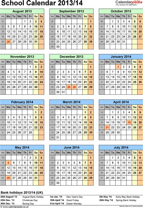 School Calendars 2013 2014 As Free Printable Excel Templates School Calendar Template
