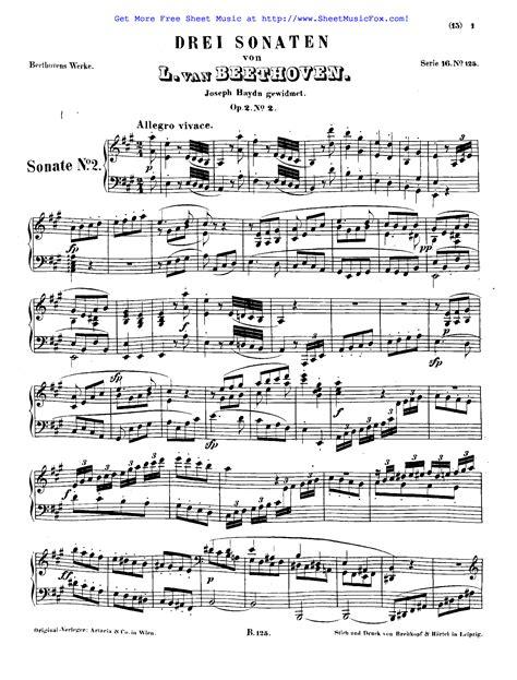 ludwig van beethoven music free sheet music for piano sonata no 2 op 2 no 2