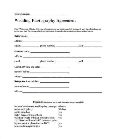 portrait photography contract template wedding photography contract