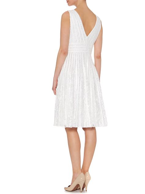 Js Vneck js collections vneck lace ribbon dress in white lyst