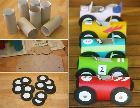 Crafts Made Out Of Toilet Paper Rolls - how to make toilet paper roll race cars diy crafts