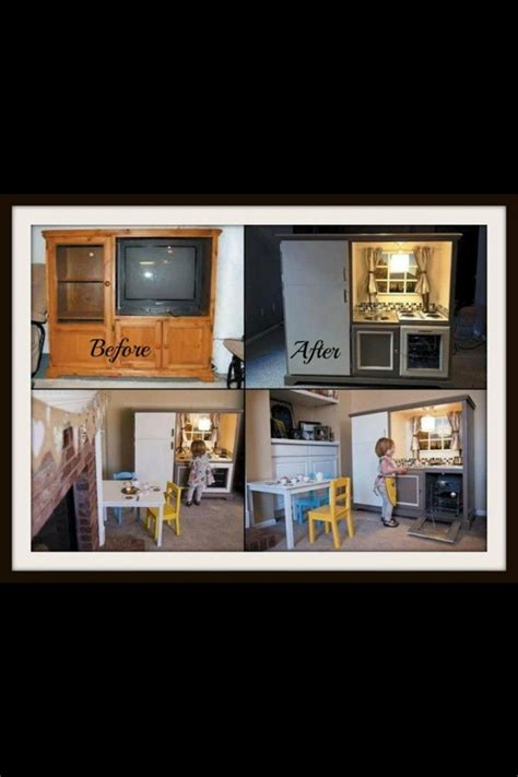 tv cabinet kids kitchen old tv stand tured into a kids kitchen craft