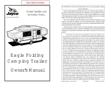 Jayco Fold Down Pop Up Tent Trailer Owners Manual 2003