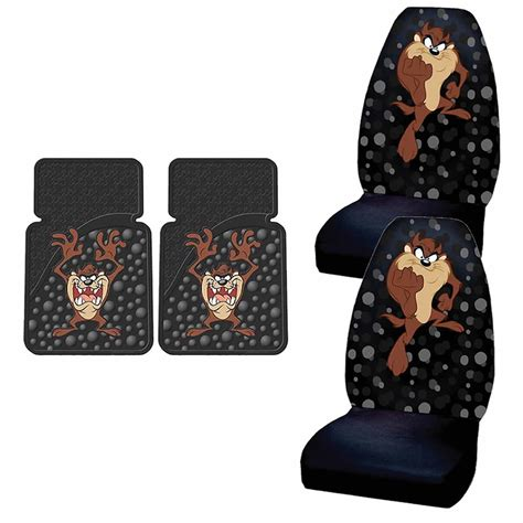 taz car seat covers and floor mats 4pc looney tunes taz attitude black seat covers front