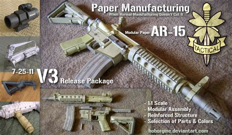 How To Make A Paper Wars Gun - modular paper ar15 v3 by hoborginc on deviantart