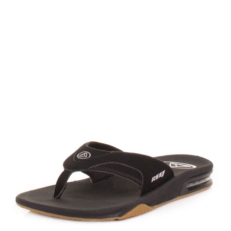 reef fanning mens black mens reef fanning black silver toe post sandals surf flip