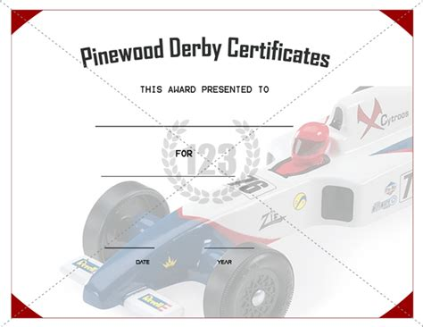 get best pinewood derby certificate template