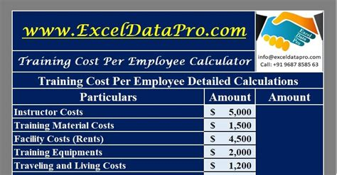 training cost  employee calculator excel template exceldatapro