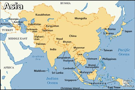 asian countries in world map my my