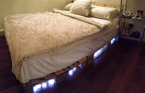 pallet bed with lighted headboard