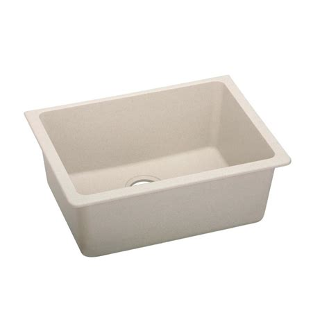 25 Kitchen Sink Elkay Quartz Classic Undermount Composite 25 In Single Bowl Kitchen Sink In Bisque Elgu2522bq0