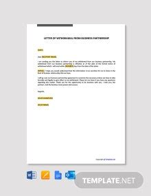 letter cancel business partnership template word