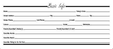 personal information card template basic personal information form template pictures to pin