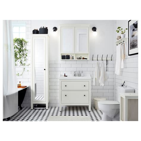 Ikea Bathroom Furniture Storage Hemnes High Cabinet With Mirror Door White 49x31x200 Cm Ikea