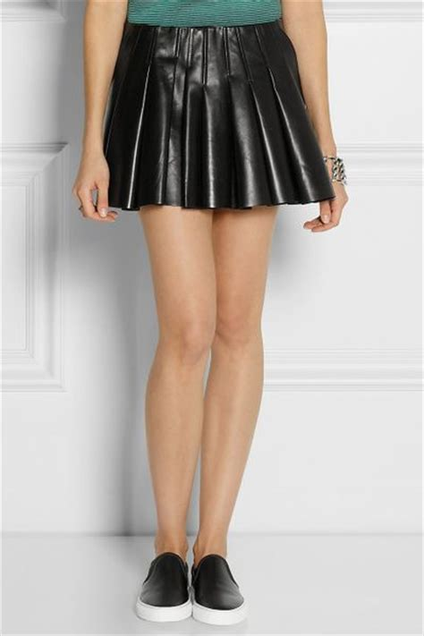 wang pleated leather mini skirt in black lyst
