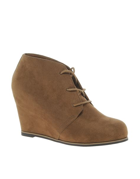 river island rango wedge boots in brown lyst